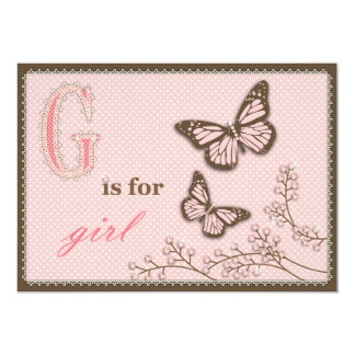 """G is for Girl Invitation Card 5"""" X 7"""" Invitation Card"""