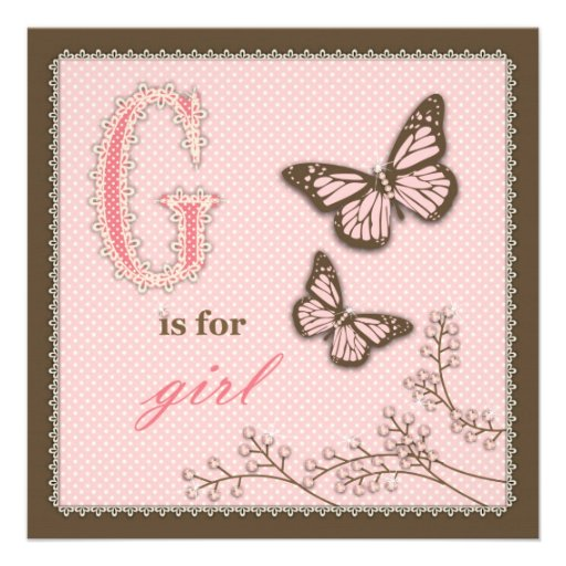 G is for Girl Invitation Square
