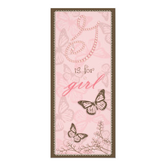 """G is for Girl Menu Card 2 4"""" X 9.25"""" Invitation Card"""
