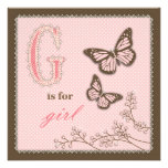 G is for Girl Square Card Personalized Announcements