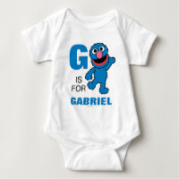 G is for Grover   Add Your Name Baby Bodysuit