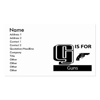 G Is For Guns Double-Sided Standard Business Cards (Pack Of 100)
