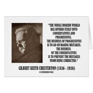 G.K. Chesterton Conservatives Progressives Mistake Greeting Card