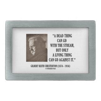 G.K. Chesterton Dead Thing Stream Living Thing Belt Buckle