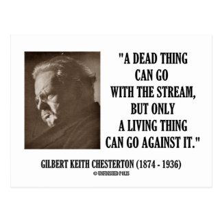 G.K. Chesterton Dead Thing Stream Living Thing Postcard