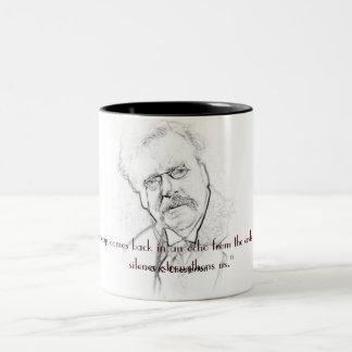 G.K. Chesterton en silencio Taza De Dos Tonos