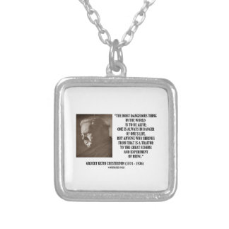 G.K. Chesterton Great Scheme Experiment Of Being Square Pendant Necklace