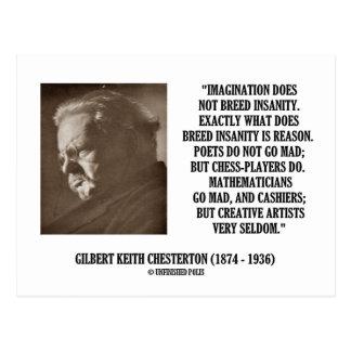 G.K. Chesterton Imagination Insanity Creative Postcard