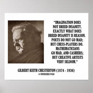 G K Chesterton Imagination Insanity Creative Print