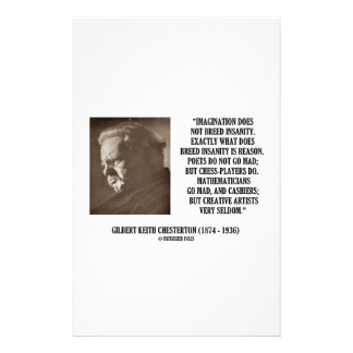 G.K. Chesterton Imagination Insanity Creative Stationery