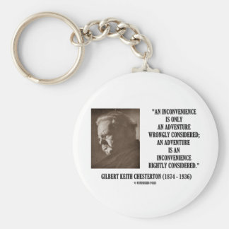 G K Chesterton Inconvenience Adventure Considered Keychain