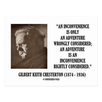 G.K. Chesterton Inconvenience Adventure Considered Postcard