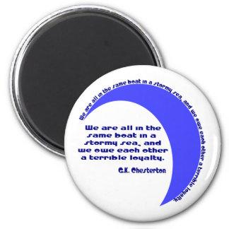 G. K. Chesterton Stormy Sea 2 Inch Round Magnet