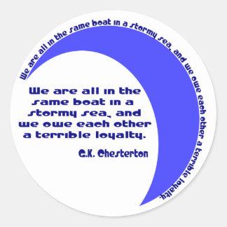 G. K. Chesterton Stormy Sea Classic Round Sticker