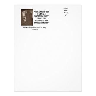 G.K. Chesterton Uninteresting Subject Uninterested Letterhead