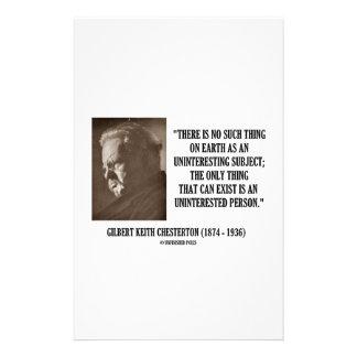 G.K. Chesterton Uninteresting Subject Uninterested Stationery