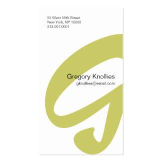 G Letter Alphabet Business Card Gold