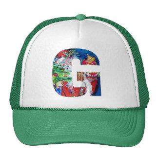 G LETTER / SANTA WITH CHRISTMAS TREE MONOGRAM TRUCKER HAT