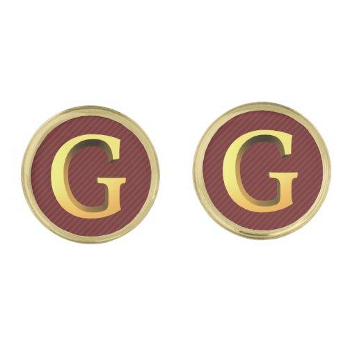 G Monogram _ 3d Look Gold on Burgundy Striped Cufflinks