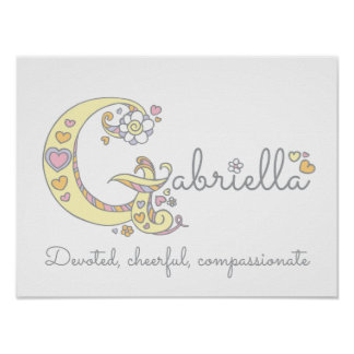G monogram art Gabriella girls name meaning poster