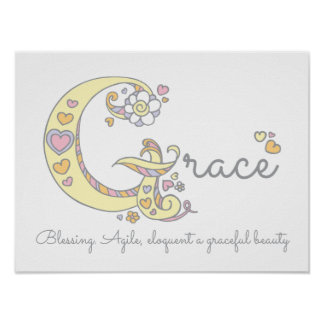 G monogram art Grace girls name meaning poster
