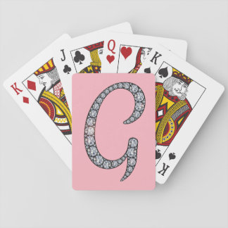 G monogram bling playing cards
