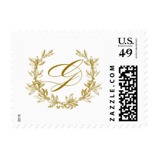 G Monogram Laurel Wreath Postage Stamp