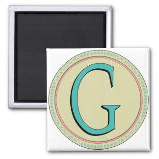 G MONOGRAM LETTER 2 INCH SQUARE MAGNET
