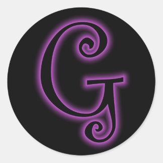 G Monogram Purple Neon Sticker