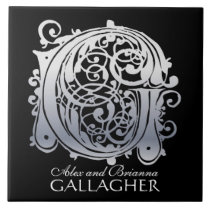 """G Monogram """"Silver Lace on Black"""" with Names Tile"""