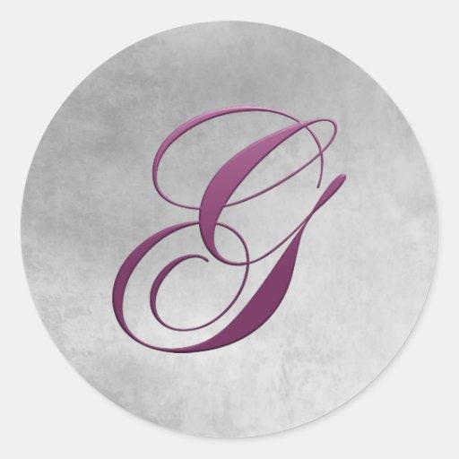 G Monogram Sticker Purple and Grunge