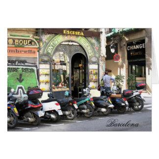 g/nc Barcelona La Rambla Scooters Barcelona Greeting Card
