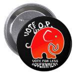 G.O.P. Elefante menos gobierno (botón) Pin