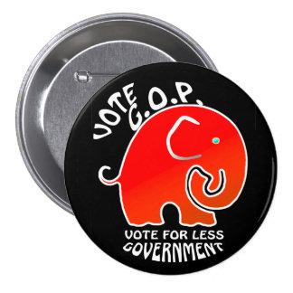 G.O.P. Elephant Less Government (Button) Pinback Button