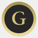 G:: Oro elegante de G del monograma y pegatina neg
