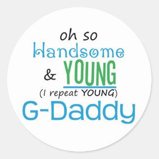 G-Papá hermoso y joven Pegatina Redonda
