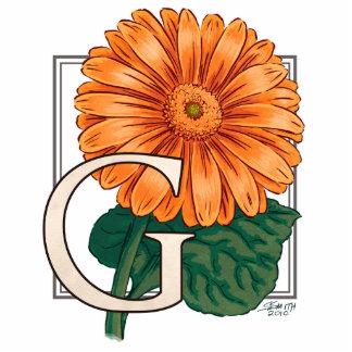 G para el monograma de la flor de los Gerberas Fotoescultura Vertical