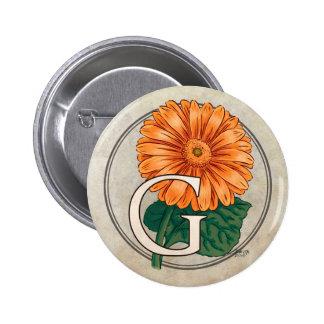 G para el monograma de la flor de los Gerberas Pins