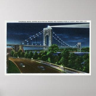 G. puente de Washington, el Hudson en la noche Poster