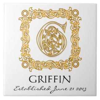 """G"" Surname Wedding Anniversary Day Monogram Tile"