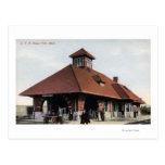 G T & R Railroad Depot Postcard