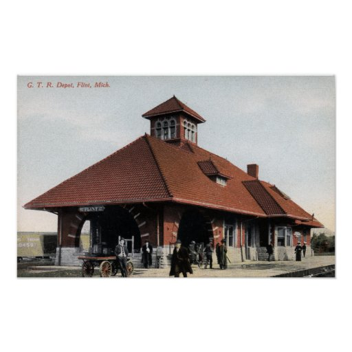 G T & R Railroad Depot Poster