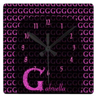 G - The Falck Alphabet (Pink) Square Wall Clock