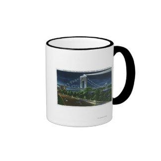 G Washington Bridge Hudson at Night Coffee Mug