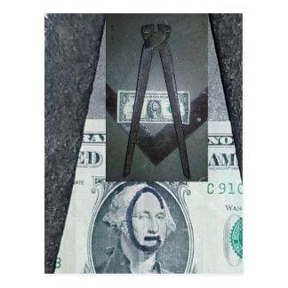 G. Washington One Dollar Bill Masonic Imagery Postcard