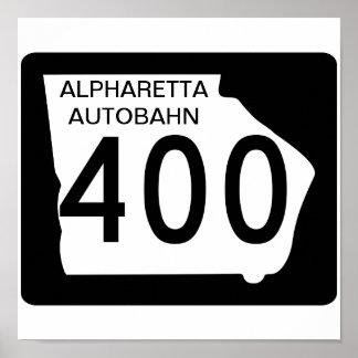 """GA 400 """"Alpharetta Autobahn"""" Poster"""