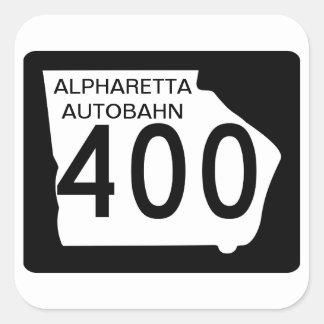 """GA 400 """"Alpharetta Autobahn"""" Square Sticker"""