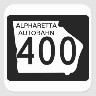 "GA 400"" Autobahn de Alpharetta "" Pegatina Cuadrada"