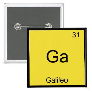 GA - Camiseta divertida del símbolo del elemento d Pin Cuadrado