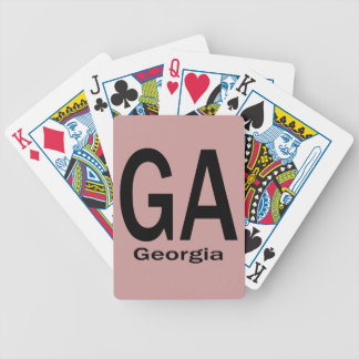 GA Georgia  plain black Bicycle Playing Cards